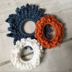 Boho flower crochet scrunchies handmade